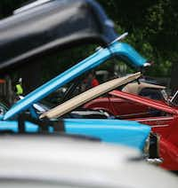 The hoods are up during Aubrey's fifth annual Classic Car Show on Saturday.David Minton - DRC