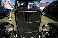 Pinstripes and chrome adorn the nose of a hot rod in Saturday's Classic Car Show in old downtown Aubrey.David Minton - DRC
