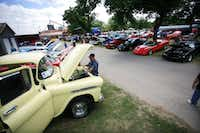 A range of vehicle from the 1930s up to late-model sports cars line up for Aubrey's fifth annual Classic Car Show on Saturday.David Minton - DRC