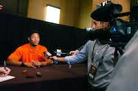 Former Guyer High School standout and Oklahoma State University wide receiver Josh Stewart speaks to the reporters at Big 12 Conference Media Day, Monday, July 22, 2013, at The Omni Dallas Hotel in Dallas, TX.David Minton - DRC