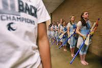 The Guyer High School color guard gets lined up waiting to perform at the Winter Guard International Southwestern Color Guard Championship on Saturday at the University of North Texas Coliseum.David Minton - DRC