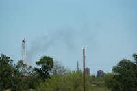 Vapor shoots from a natural gas well owned by Eagle Ridge Operating LLC in the 600 block of Jim Christal Rd near Denton Enterprise Airport, Friday, April 19, 2013, in Denton, TX.David Minton - DRC