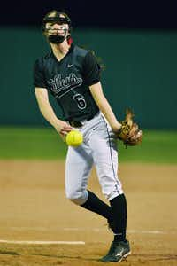 Guyer's Lauren Lindgren (6) throws against Lake Dallas, Friday, March 21, 2014, in DentonDavid Minton - DRC