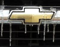 Icicles drip off of the bow-tie insignia on the front of a Chevrolet truck Monday in Denton.<137> Photo by Al Key/DRC<137>Al Key