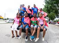 Children from Mount Calvary Baptist Church Youth Ministry pose for a quick photo before Denton's Juneteenth parade on Saturday.Matt Garnett - For the DRC