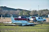 After taking off from Denton Enterprise Airport and experiencing engine trouble, a pilot landed a Piper Navajo just yards away from U.S. Highway 380 west of Denton on Friday.David Minton