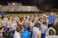 Krum head coach Gary Robinson breaks practice at 2:30 a.m. while telling his players he will see them again at 8 a.m. for the next practice Monday August 5, 2013, in Krum, Tx.Al Key - DRC