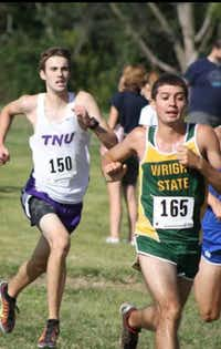 Ryan product Logan Rodgers, left, competes in a cross country meet for Trevecca Nazarene this fall.Courtesy photo