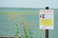 A sign shown Friday next to the Shady Shores boat ramp into Lewisville Lake informs boaters about zebra mussels and instructs them to clean and dry their boats.David Minton - DRC