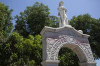Red stains remain on the Denton County Confederate Soldier Memorial on Monday afternoon after employees worked to remove graffiti.Kristen Watson - DRC