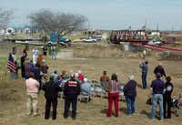 County Commissioner Andy Eads addresses the crowd at the dedication of the Plainview bridge in Krum Monday March 24, 2014, in Krum, Tx.Al Key