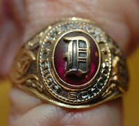 Charles Hopkins' long lost Denton High School class ring, which was found by Janet Hall, is shown Friday in Denton.Al Key - DRC