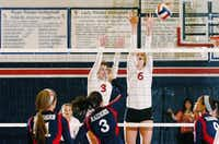 Argyle senior Aubrey Kass (3) and junior Katy Keenan (6) jump to try to block from Ryan's Alex Summer (3), Tuesday, August 27, 2013, in Denton.David Minton