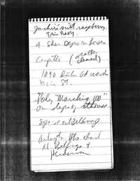 Keith Shelton took these notes while covering President John F. Kennedy's stops in Fort Worth and Dallas for the Dallas Times Herald in November 1963.