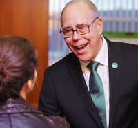 University of Nevada at Las Vegas President Neal Smatresk, right, talks to University of North Texas graduate student Anna Pechenina after being named the sole finalist for the UNT presidency Wednesday at the Gateway Center. Pechenina was the student represenative to UNT's presidential search advisory committee.Al Key