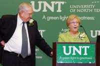Outgoing University of North Texas president Lane Rawlins and his wife Mary Jo say goodbye to UNT at a reception in his honor at the Gateway Center on the UNT campus Thursday  in Denton.Al Key