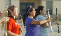 Valeria Ibarra leads her section during band practice at Krum High School Thursday August 1, 2013, in Krum.Al Key - DRC