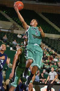 North Texas guard Chris Jones goes to the basket against Jackson State on Saturday at the Super Pit. Jones scored 11 points in the Mean Green's 83-65 win.DRC/David Minton