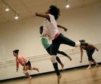 "Members of Big Rig Dance Collective are pictured rehearsing during a weeklong workshop called ""The Grit Intensive"" at Green Space Arts Collective. Big Rig is based in Denton, but its mission is to connect dancers and dance groups all over Texas for learning and performing.Amanda Jackson"