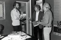 "David Carradine, left, and Alejandro Jodorowsky are shown in vintage photos in the documentary ""Jodorowsky's Dune."""