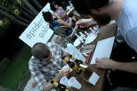 A group painted, cut and drew at an art and beer-themed session hosted by Spiderweb Salon.Courtesy photo