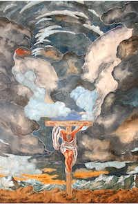 """The Great Sky Crucifixion,"" a watercolor by Randall M. Good, will be part of the artist's solo show in September and October at Oxide Gallery.<252><219,4,200>Courtesy photo/Oxide Gallery"