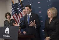 House Speaker Paul Ryan  and other House Republicans discuss their efforts to replace the Affordable Care Act on Tuesday on Capitol Hill in Washington.J. Scott Applewhite