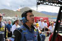 Marcos Castro looks at a monitor on pit road during a race in 2014, when he worked for Front Row Motorsports.Courtesy photo - Eric Roth