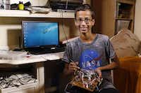 Ahmed Mohamed shows his new media player that he has been working on recently in his home in Irving on Wednesday.David Woo