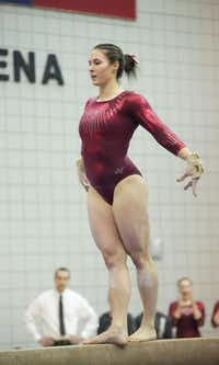 TWU senior Bethany Larimer competes on balance beam at Kitty Magee Arena.Courtesy photo