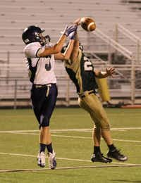 Denton Calvary freshman Jacob Hood (27) makes a big defensive play on a Lucas Christian pass attempt.Matt Matthews