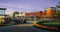 A rendering of one portion of Rayzor Ranch Town Center, where developers anticipate restaurants and retailers will lease space. Officials anticipate lease announcements will continue this year as construction on the project begins.