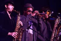 The horn section is a big part of Larry g(EE)'s soulful sounds.DMN file photo