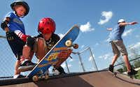 Kids 6 and older can learn and improve their skateboarding skills at the Denton Skate Park this summer.GARY PAYNE
