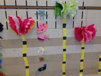 """Shown are truffula trees that were created by kindergarteners at Hilltop Elementary School after reading the Dr. Seuss book """"The Lorax"""" during Read Across America week.Crystal Kulle"""