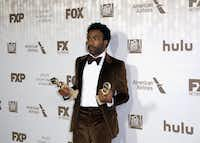 """Donald Glover, named best actor in a comedy series for """"Atlanta,"""" arrives at the Fox Golden Globes after-party Sunday in Beverly Hills, Calif. """"Atlanta"""" also won best comedy series.Willy Sanjuan, Invision"""