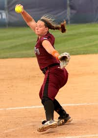 TWU's Brandie Lander delivers a pitch against Humboldt State Friday afternoon, May 24, 2013, during the NCAA Division II National Tournament in Salem, Virginia. Lander pitched 42/3 innings of relief in TWU?s 4-2 loss.Matt Watson - NCAA courtesy photo