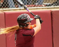 TWU's Kendra Sancet lines a base hit to left field during Friday's game, May 24, 2013, with Humboldt State in the NCAA Division II National Championship Tournament. Sancet had two hits during TWU's 4-2 loss.Matt Watson - NCAA courtesy photo