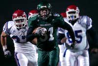 Former North Texas receiver Johnny Quinn runs for a touchdown against Louisiana Tech on Nov. 4, 2006, at Fouts Field.DRC file photo