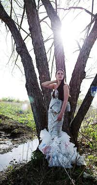 """Models show garments made from discarded materials for the 2013 """"TRASHion Fashion Runway Show,"""" which was part of the Denton Redbud Festival on Saturday. These images were taken by Denton High School students during a photo shoot under the instruction of LaGrone Advanced Technology Complex teacher Will Milne.Courtesy photo"""