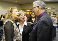 Rudy Rodriguez shares a laugh with current Denton ISD school board member Mia Price, middle, and incoming board member Dorothy Martinez during a reception in his honor Monday night. Rodriguez, the current board secretary, did not seek re-election and is retiring after six years of service on the district's school board.Courtesy photo