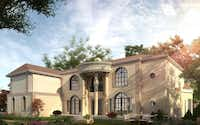 """This rendering from Lelege USA Corp.'s website shows the """"Houston Palladian,"""" one of the models of luxury homes available at the developer's planned Long Lake subdivision in Corinth.Courtesy image"""