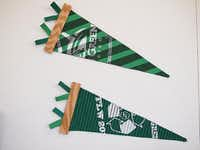 A University of North Texas fiber arts student used pieces of a UNT T-Shirt to re-imagine the traditional college pennant flag.Courtesy photo