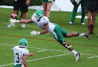 North Texas tight end Marcus Smith (18) dives for a pass during a game against Georgia on Sept. 21 in Athens, Ga.Scott Cunningham
