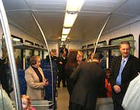 Open house attendees check out one of the A-train's new Stadler GTW   2-6 Diesel Multiple Unit rail vehicles. The Denton County   Transportation Authority's new rail cars, manufactured in Switzerland,   will go into service later this year.