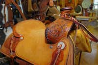 One of Mark Hurley's saddles at his saddle shop Friday May 10, 2013, in Denton.Ak Key - DRC